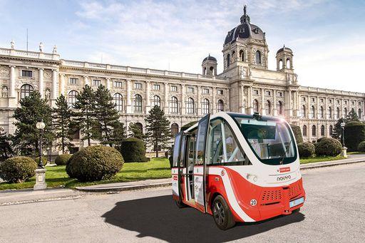 Ein selbstfahrender E-Bus der Wiener Linien